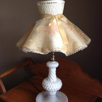 Milk glass hobnail lamp - Fabulous find!