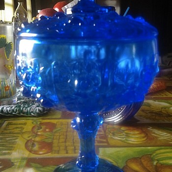 blue glass candy dish?