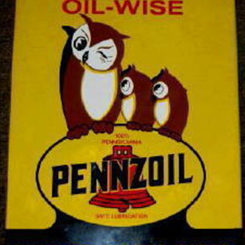 PENNZOIL oil Wise PORCELAIN OVERLAY  - Advertising