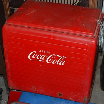 Some vintage Cola Cola Coolers, Small portable
