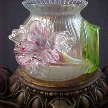 Bohemian Kralik Iridescent Applied Floriform Art Glass Vase - Art Glass