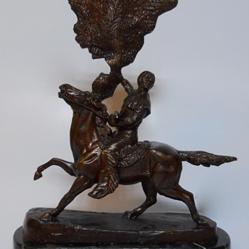 "Buffalo Signal by""Frederic Remington""Bronze, Late 20 century - Visual Art"