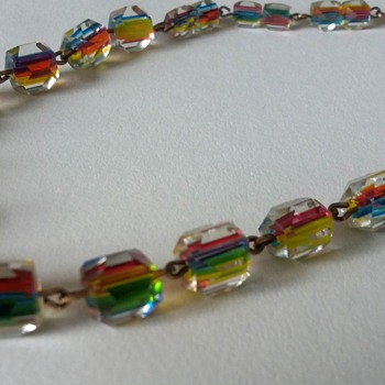Art Deco rainbow cane glass necklace on gold tone (rolled gold?) links