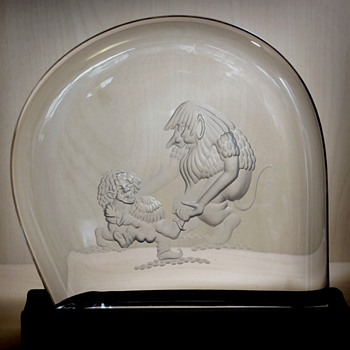 "Engraved Glass block/sculpture with ""trolls"" - Ake Bergqvist about 1975."