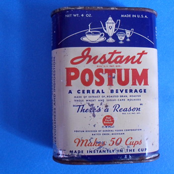 Instant Postum metal tin. - Advertising