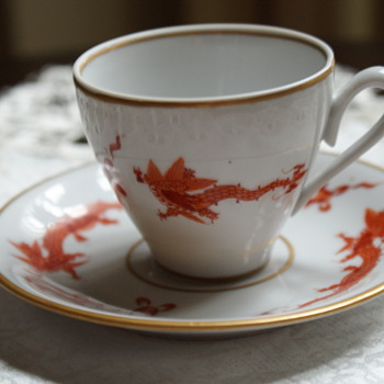 Vintage Hand-Painted Cup and Saucer