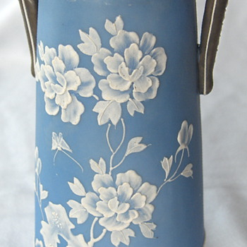 Japanese Export Jasperware & Touch Moriage Handled Vase