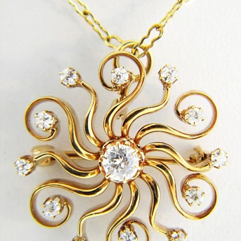 Victorian European Cut Diamond Starburst Pendant Brooch 14k