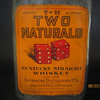 Early 1900's Two Naturals 7-11 Owensboro Kentucky Glenmore Distillieries Co. Whiskey Bottle w/Original Label