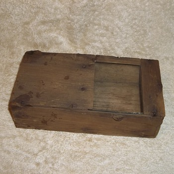 Vintage wood box, Magic? Glass Slide Door. Trap?
