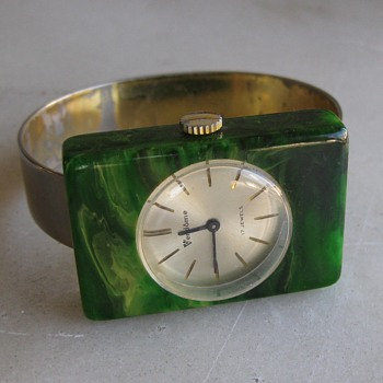 Vendome bakelite bracelet watch - Costume Jewelry