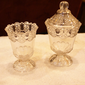 These too EAPG glass Items sugar jar and creamer maybe?? unknow for sure - Glassware