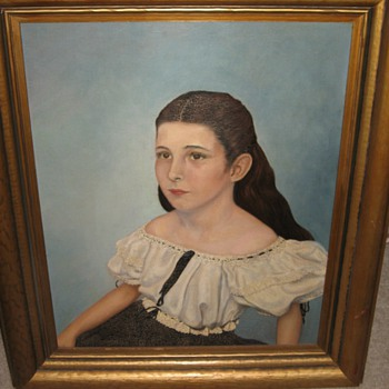 Oil painting of little girl 1940s