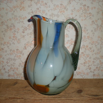 Welz??? Art Nouveau glass pitcher.