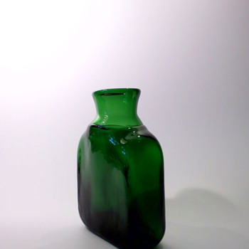 Bertil Vallien Green Bottle Vase - Art Glass