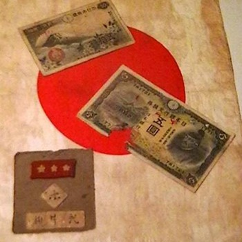 WW II Japanese Personal Flag, Money, and Uniform Patch