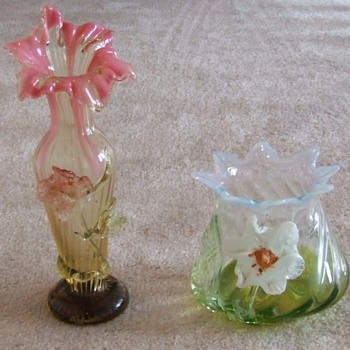 Two more applied flower Art Glass Vases from Kralik - Art Glass