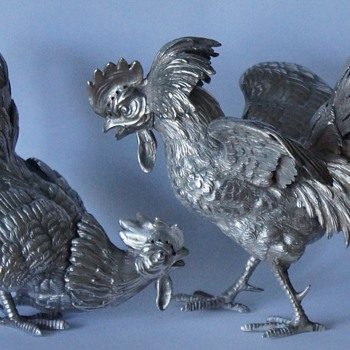 Silver Fighting Cockerels  - Sterling Silver