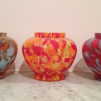 3 Welz dimpled urns including one documented Welz decor