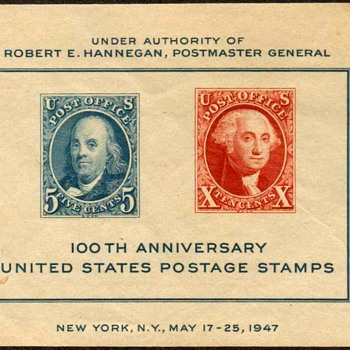 "1947 - ""Philatelic Exhibition"" Souvenir Sheet (US) - Stamps"
