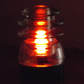 Antique Glass Insulator/with small light - Lamps