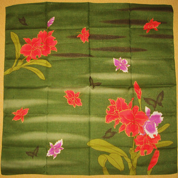 Japanese Green Dyed Black-Butterfly Handkerchief - Accessories