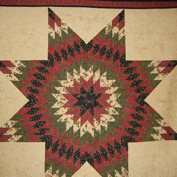 Lone Star Quilt with custom quilting - Folk Art