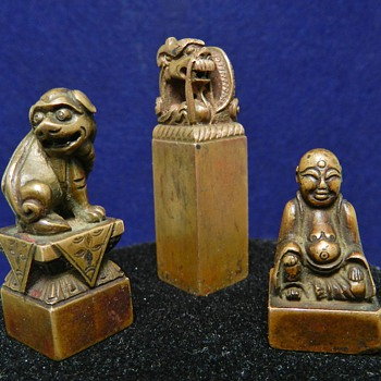 Set of 3 Qing Dynasty Chinese Bronze Shoushan