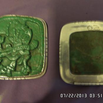 jade & sterling silver mayan necklass - Fine Jewelry