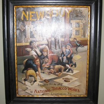Newsboy Tobacco advertising painting oil on canvas!