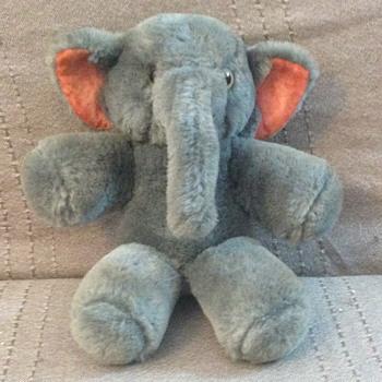Shanghai Doll Factory Teddy Grey Elephant Wool Plush 1960s   - Dolls