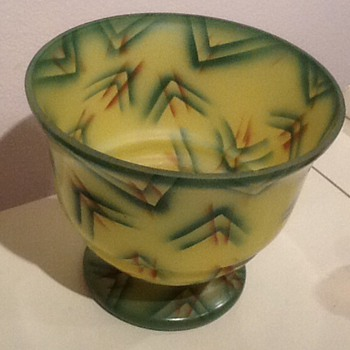 Art Deco unusual satin glass with painted design - Art Glass
