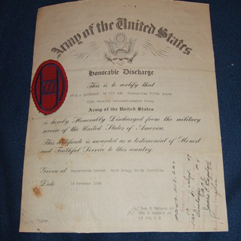 WW2 30th Division soldier patch and discharge paperwork