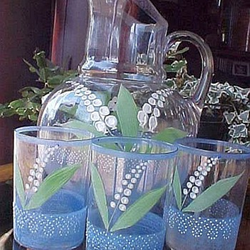 Glass Old Lemonade Set, Lily Of The Valley