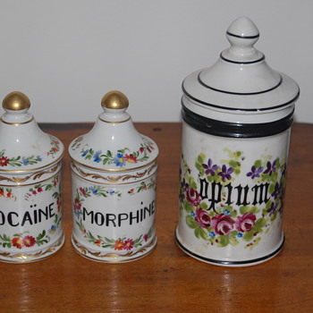 Limoges Apothecary Jars w/ Three Different Narcotics - China and Dinnerware