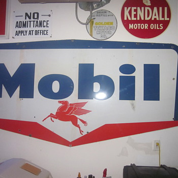 1959 Mobil Oil Porcelain Sign - Petroliana