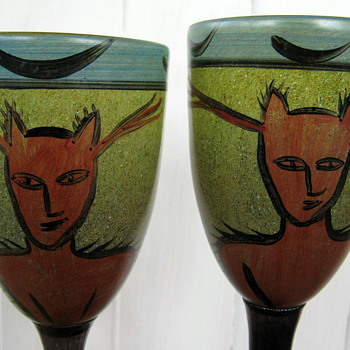 Ulrica Hydman-Vallien Goblets - Art Glass