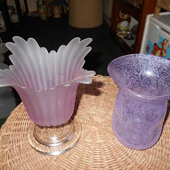 Neodymium Glass Vases: 1-Satin molded 1-Blown Pulegoso