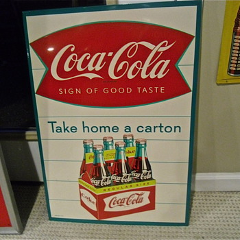 "Early 1960s Sidewalk Six Pack ""Take Home A Carton"" Sign - Coca-Cola"