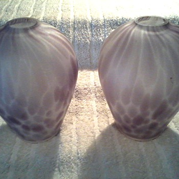Two Beautiful Lavender Swirl Satin Glass Vases / Unknown Maker and Age