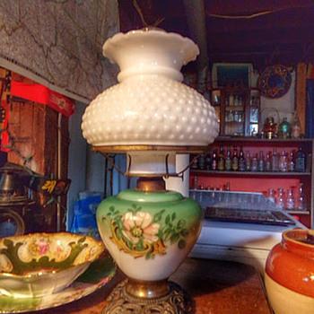 Pat 1897 Hand-Painted Kerosene Lamp