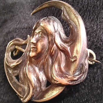 Art Nouveau Moon Lady Makers mark mystery - Art Nouveau