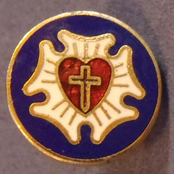 1 cm Military Tac Stick Pin, Cross Inside Red Heart, Blue Background