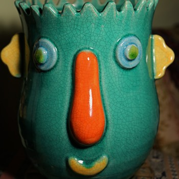 Yard Sale Find - Crazy Face Planter - Art Pottery