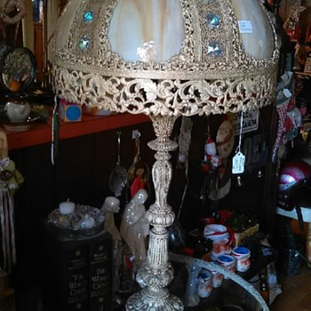 Victorian-style, one of a kind antique full glass table lamp - Lamps