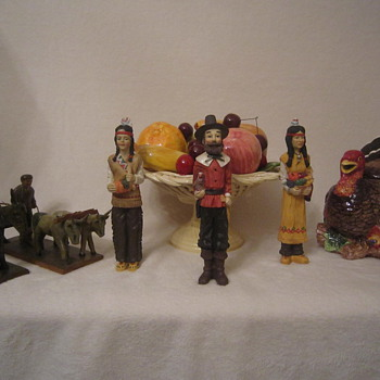 Happy Thanksgiving Antique Figurines, Fruit Basket, & Turkey. Gobble! Gobble! :)