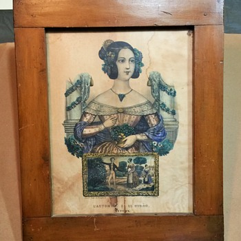 Antique French Print with Antique Dowel Wood Frame, Unknown Year of Mfg.