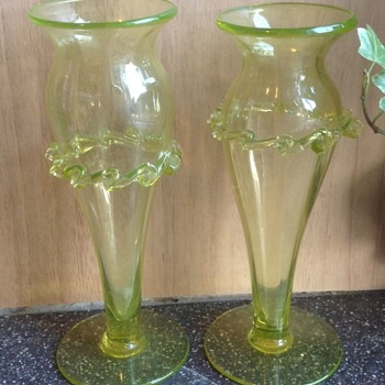 Vaseline glass vases - Glassware