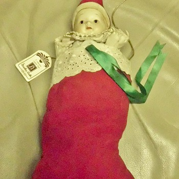 Bradley Dolls Christmas Stocking China Doll Music Box - Christmas