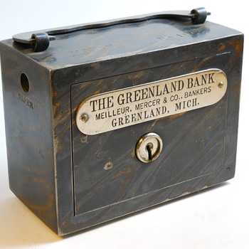 "Promotional Advertising Steel Bank""The Greenland Bank, Greenland, Michigan, Circa 1900"